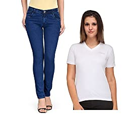 Oleva Womens combo set of 2 (denim Blue jeans and White T-Shirt ) ONC-11_38