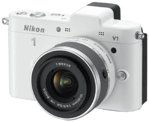Nikon 1 V1 Compact System Camera with 10-30mm Lens Kit - White (10.1MP) 3 inch LCD