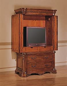 Newcastle Collection Cherry Finish Solid Wood TV Armoire Stand Bedroom  Armoires Furniture U0026 Decor