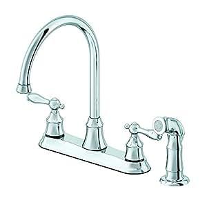 aquasource chrome 2 handle high arc kitchen faucet side zurn aquasense wall mount battery powered single hole