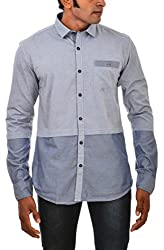 Indipulse Men's Casual Shirt (IF1151903A, Blue, XXL)