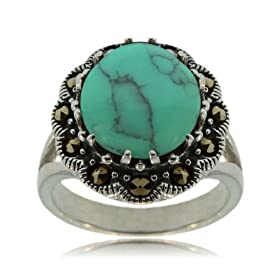 Sterling Silver Cocktail Ring W Turquoise &amp; Marcasite