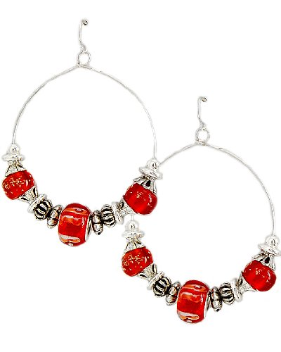 Antique Silver Tone Red Pandora Glass CCB Beads Dangle Fish Hook Earrings