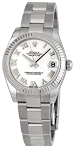 Rolex Datejust White Roman Dial Oyster Bracelet 18k White Gold Fluted Bezel Unisex Watch 178274WRO from Rolex