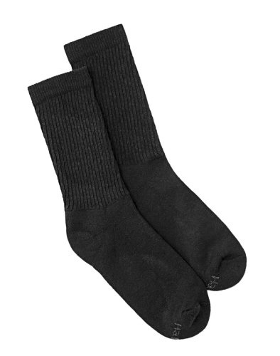Hanes 683-6 Women Crew Socks 6-Pack Size 9 -11 Black