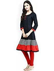 Mezona Women's Black & Red Reyon Cotton Plain Full Stiched Kurti