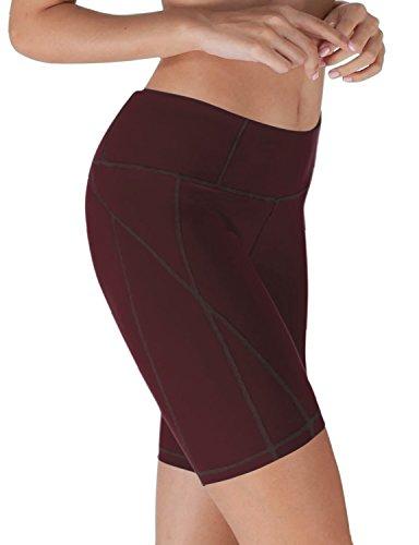Yoga Reflex - Yoga Shorts for Women - Workout Yoga Short - Hidden Pocket (From XS to 2XL) , Maroon , X-Small