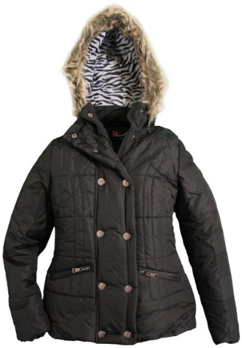 Dollhouse Juniors Removable Faux Fur Trim Hooded Puffer Jacket - Black (Medium) front-87522