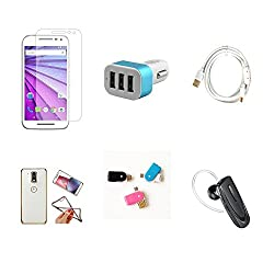 High Quality Combo of Moto G3 Temper Glass + Car Charger 3 USB + Fast Charging Cable + Attractive Back Cover (Transparent Back with Golden Border) + OTG and USB Dual Card Reader