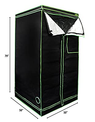"MILLIARD 50"" x 50"" x 79"" 100% Reflective Mylar Hydroponic Grow Tent with Window, Great for Indoor Planting and Early Seedling Starters"