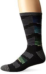 KurB Men's Chevron Icon Sport Fashion Crew Sock, Black, 10-13