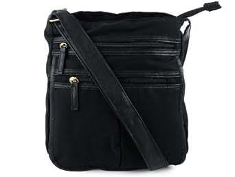Lightweight Canvas Messenger Bag Dispatch Cross Body Shoulder Unisex 3 Colours (Black)