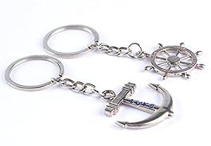 Ruder und Anker aus Metall Schlüsselanhänger, Paar