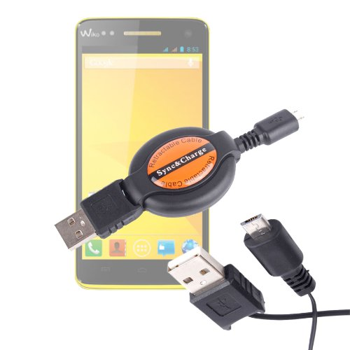 Duragadget Micro Usb Data Sync Cable With Long, Useful Retractable Lead For Wiko Rainbow / Highway / Getaway / Barry / Bloom / Mazing / Wax