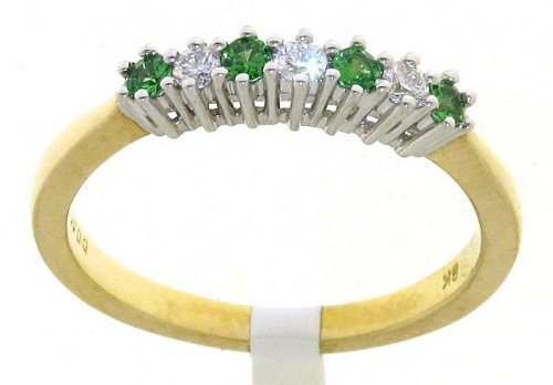 Stylish 9 ct Gold Ladies Fancy Diamond Ring Brilliant Cut 0.10 Carat I-I1 with Tsavorite