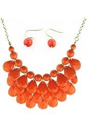 Bib Bubble Statement Necklace & Earrings Jewelry Set Inspired. - Fashion Jewelry - Orange