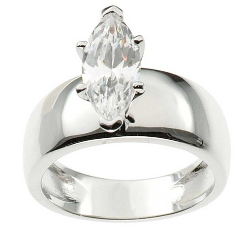 2.0 Carats Marquise Cut Solitaire Cz Cubic Zirconia Sterling Silver Women'S Wedding Ring