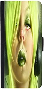 Snoogg Pierced Girl Listening 2680 Graphic Snap On Hard Back Leather + Pc Fli...