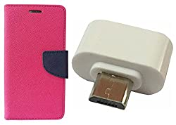 Novo Style Book Style Folio Wallet Case MicromaxCanvas NitroA310 Pink + Little Adapter Micro USB OTG to USB 2.0 Adapter for Smartphones & Tablets