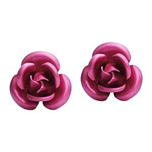 Blooming Pink Rose .925 Silver Stud Earrings