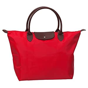 Womens Fashion Inspired Classic Size Elegant Nylon Sport Tote Red