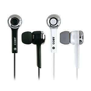 Coby CVE91WHT Isolation Stereo Earphones with Volume Control, White (Discontinued by Manufacturer)