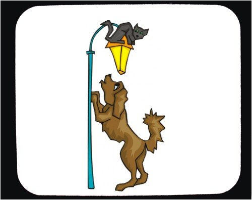 Decorated Mouse Pad with lantern, cat, lamp, chasing, mammal, pet, animal, dog, canine