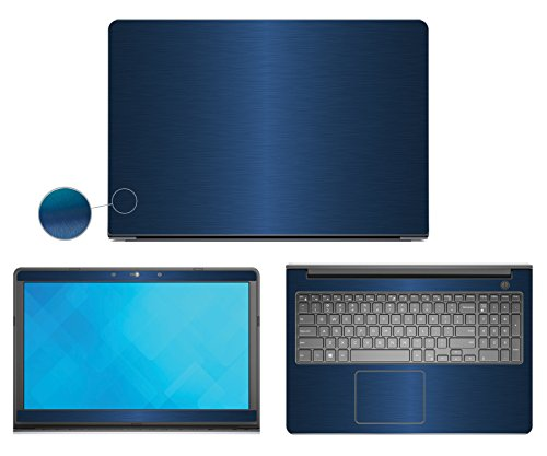 Decalrus - Dell Inspiron i5547 (15.6 screen) laptop BLUE Texture Brushed Aluminum skin Carbon Fiber skins decal for case cover wrap BAinspironi5547Blue