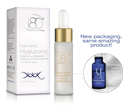 180 Cosmetics Pure Swiss, Hyaluronic Acid Serum + Vitamin C (Ultima)- The very best hyaluronic acid skincare line in the world - For smooth, plump, younger looking skin - Anti Aging, Anti Wrinkle, Instant Lift Solution - Formulated to smooth, strengthen,