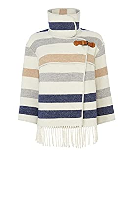 STRIPED WOOL FRINGED CAPE