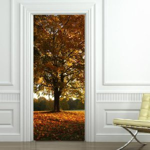 sticker arbres automne trompe l 39 oeil pour porte cuisine maison. Black Bedroom Furniture Sets. Home Design Ideas