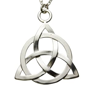 Triquetra Trinity Knot Silver Dipped Pendant Necklace on 18