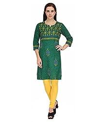 BPT Stylish Casual Wear Green Printed Woman's Kurti