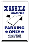 CORNHOLE CHAMPION Parking Sign boards bags teams game bean