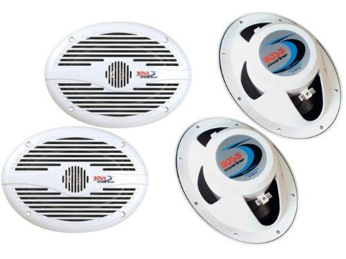 """4) New Boss Mr690 6X9"""" 2-Way 700W Marine/Boat Speakers Audio Stereo - White"""