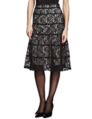 M&S Collection Cotton Rich Panelled Lace Skirt