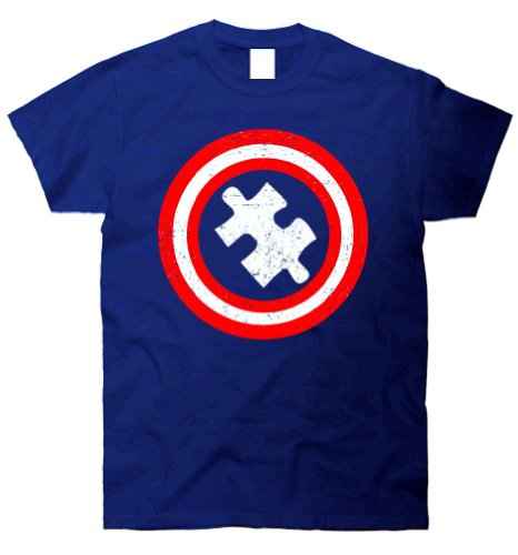 TeeShirtPalace Captain Autism Distressed Puzzle Piece Logo T Shirt