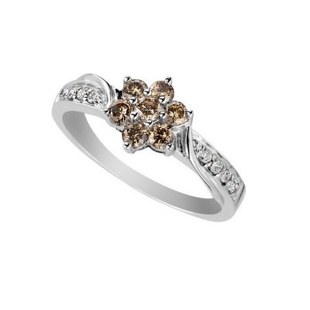 1/4 CT. Chocolate Champagne Diamond Ring In 14K White Gold