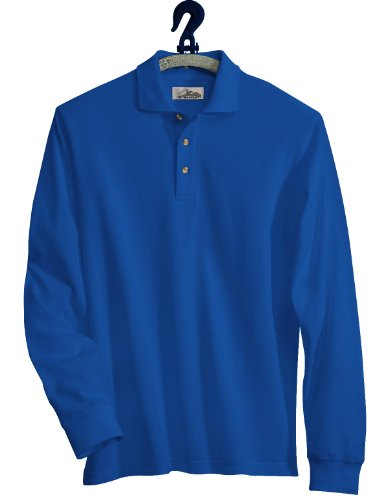 Tri-Mountain Cotton Pique Long Sleeve Golf Shirt. 665Tm - Royal_3Xlt front-444158