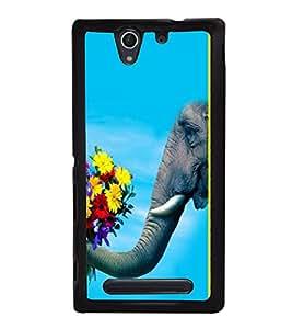printtech Elephant Flowers Back Case Cover for Sony Xperia C4 Dual E5333 E5343 E5363::Sony Xperia C4 E5303 E5306 E5353