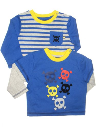 Little Me Baby-Boys Infant Skull 2 Pocket Top, Blue Multi, 12 Months front-883428