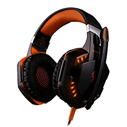PC Gaming Headset 007plus® G2000 LED 3.5mm Stereo Gaming LED Lighting Over-Ear Headphone Headset Headband with Mic for PC Stereo Bass Computer Game Gaming Headset (Black/Orange)