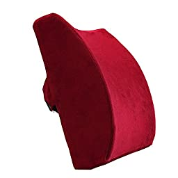 Love Home Memory Foam Lumbar Support Cushion Back Cushion with Velvet Cover - Alleviates Lower Back Pain (Red)