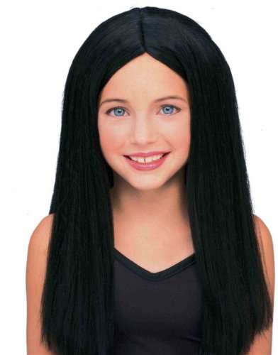 Kids Childrens Costume Long Black Straight Witch or Vampire Wig