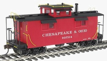 Buy Walthers – Platinum Line(TM) 25′, 2-Window Caboose w/Center Cupola HO – Chesapeake & Ohio