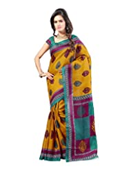 Kajal Sarees Women's Art Silk Self Print Saree (PS_218, Brown)