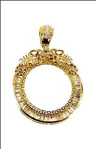 14k Tricolor Gold, Scorpion Coin Bezel Frame Pendant Charm for 50 Pesos Centenario Mexican Coins