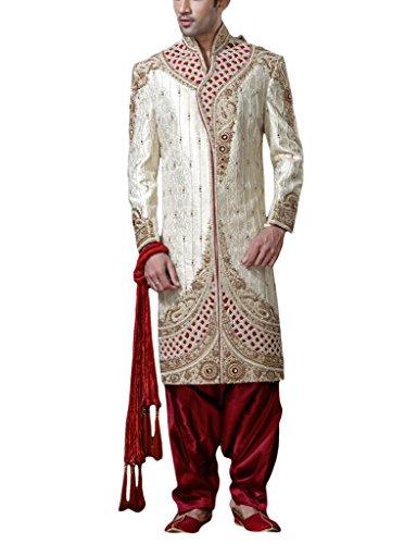 Readiprint Men's Silk & Banarasi Sherwani (12110_White and Off White_32) (multicolor)