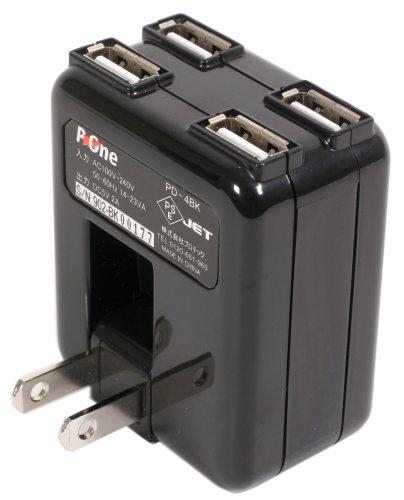 プロテック P-4WAY USB4基搭載ACアダプター PD-4BK ブラック 【iPad/iPhone 3G,3GS,4/iPod nano 5G/iPod各種/ゲーム機/携帯】