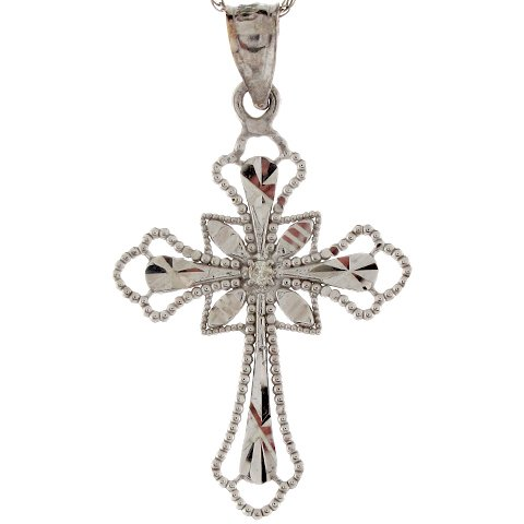 14k White Gold Three Tipped Unique Outline Diamond Cross Pendant